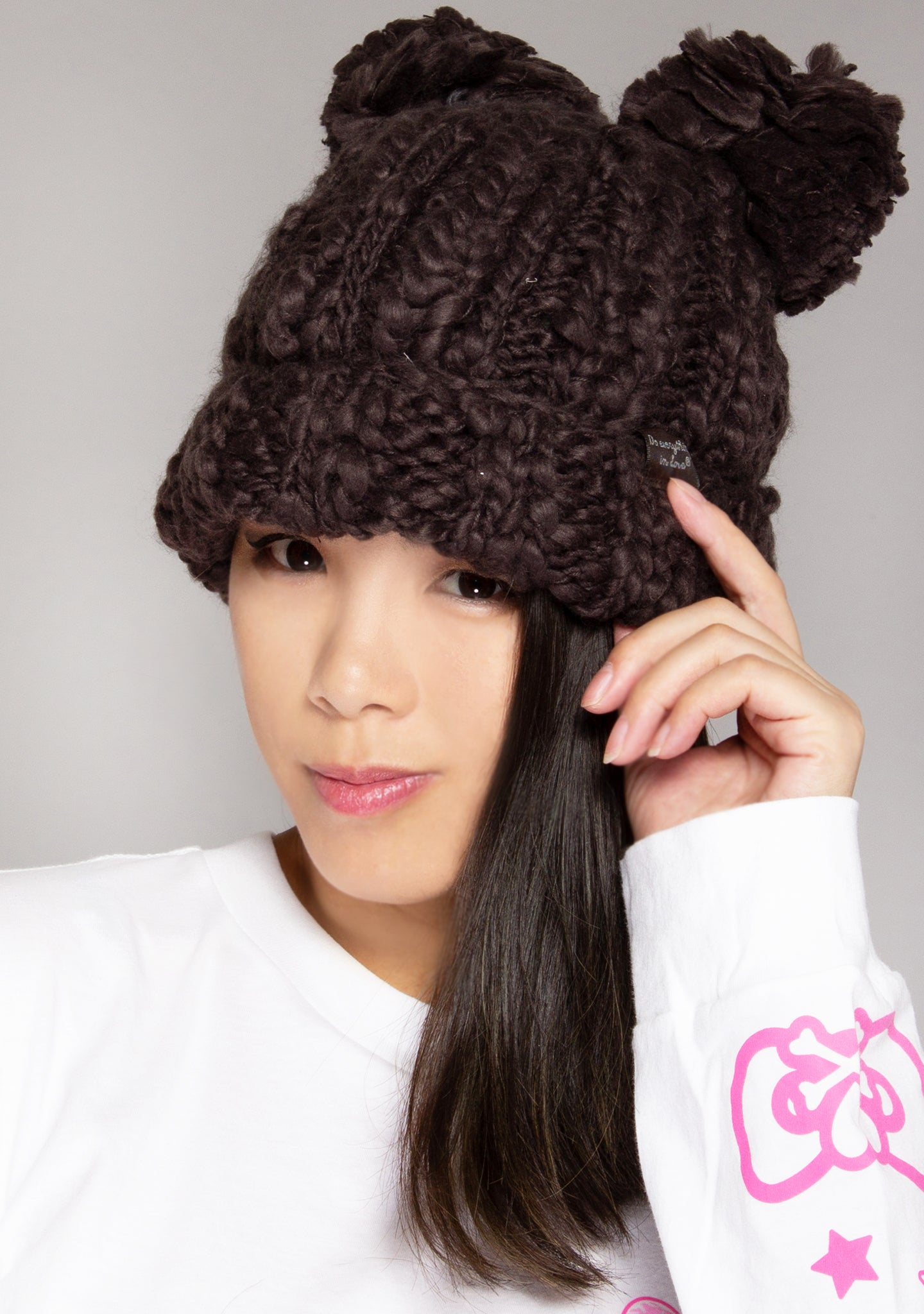 Teddy Bear Knit Beanie in Grey