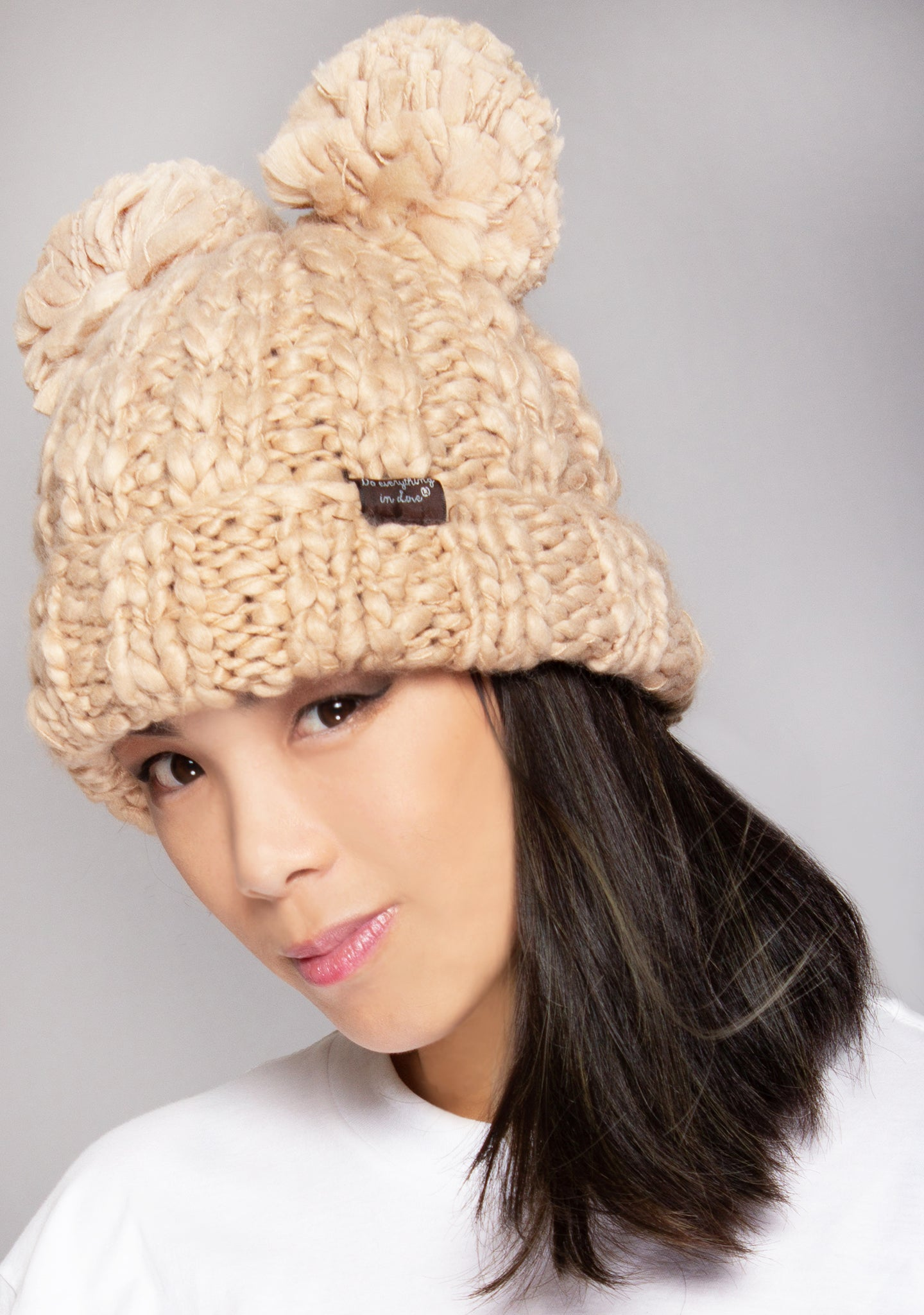 Teddy Bear Knit Beanie in Camel