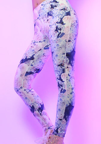La Vida Flor Leggings in Purple Floral