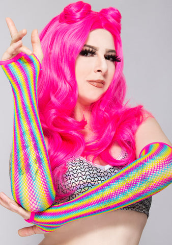 Over The Rainbow Fishnet Arm Warmers