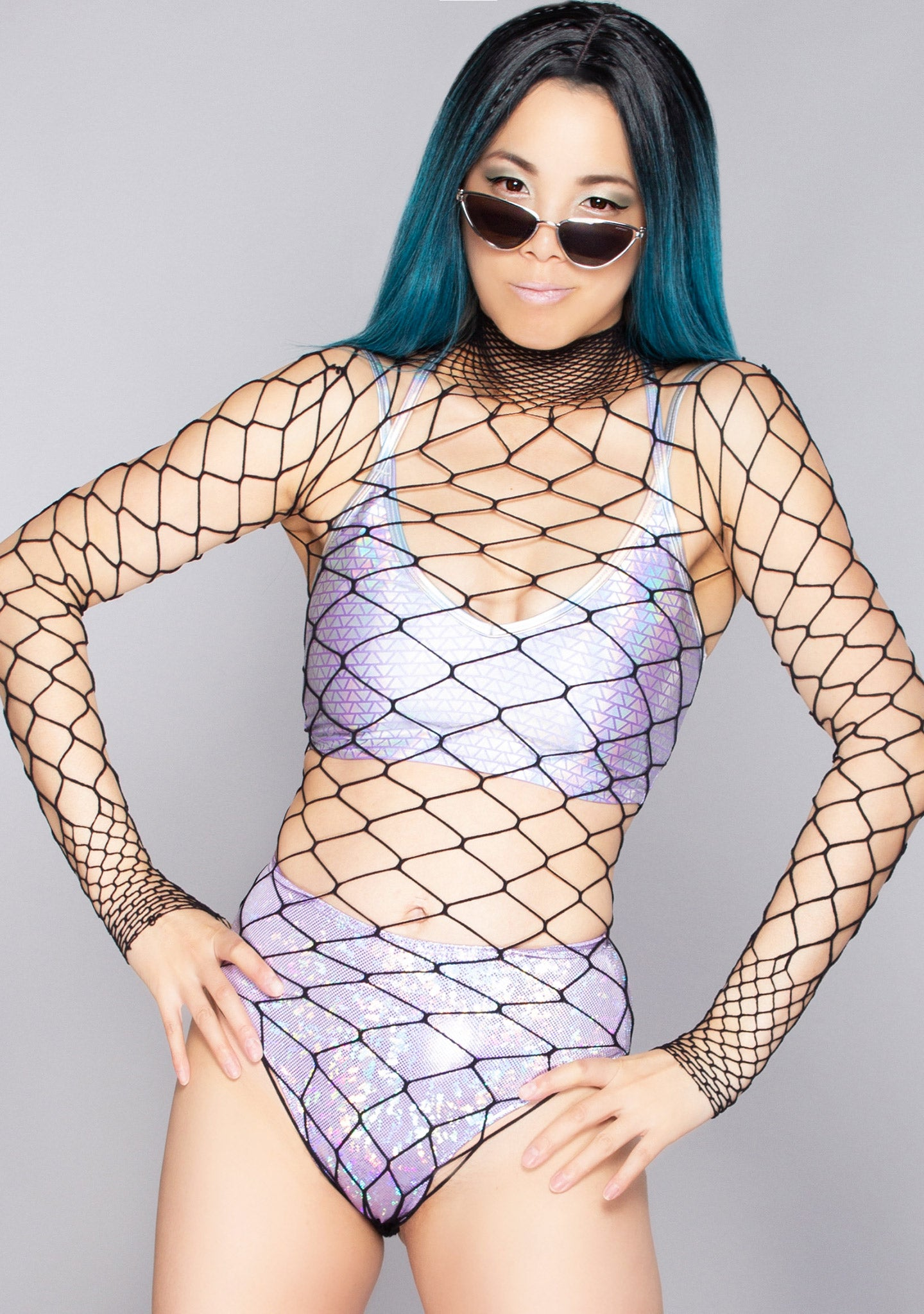 Seductress Fishnet Long Sleeve Bodysuit
