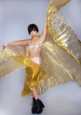 Goddess 360 Degree Pleated Halter Isis in Gold