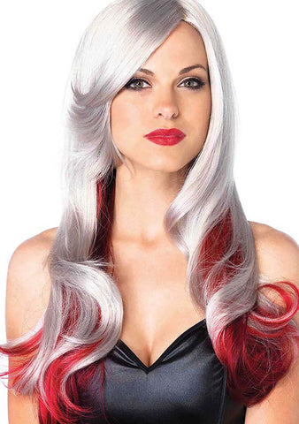 Allure Ombre Long Wavy Wig in Silver/Red