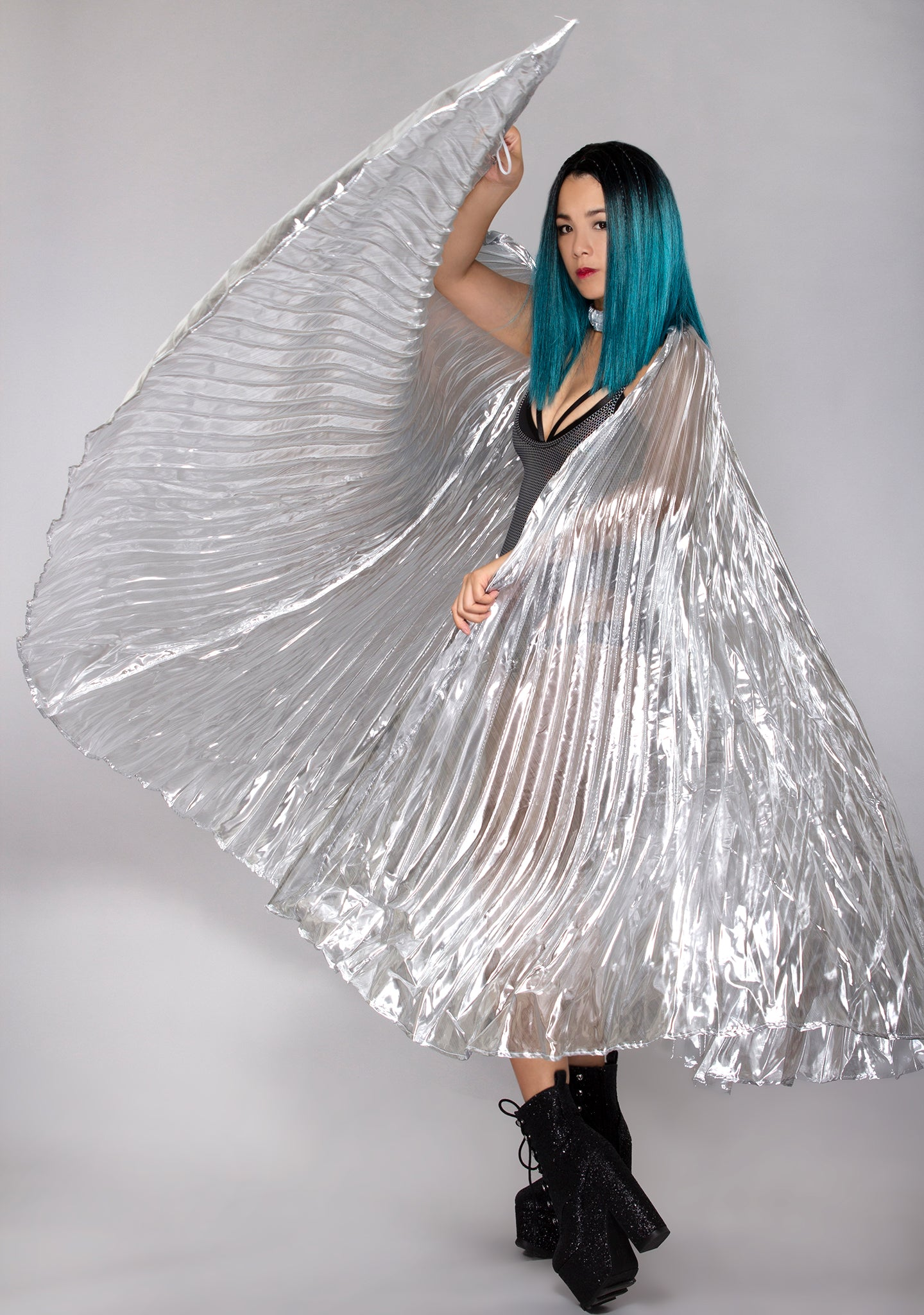 Goddess 360 Degree Pleated Halter Isis in Silver