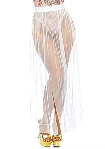 Multi Slit Sheer Skirt in White