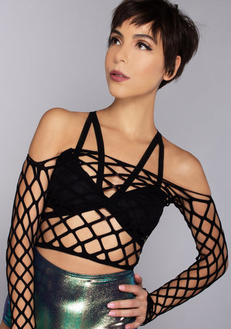 Obey Me Fishnet Long Sleeve Crop Top