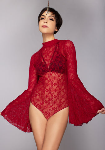 Savage Sinner Lace Bodysuit in Burgundy