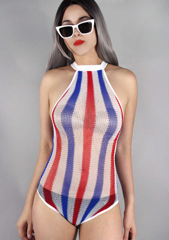 Striped Halter Bodysuit in Red/White/Blue