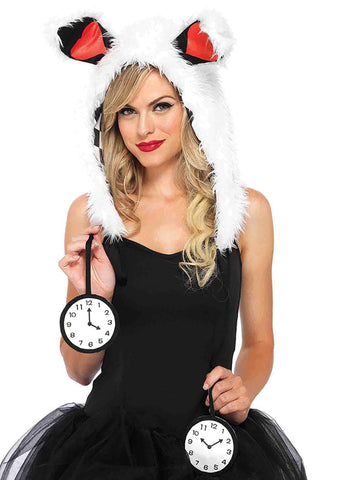Tick Tock White Rabbit Hood