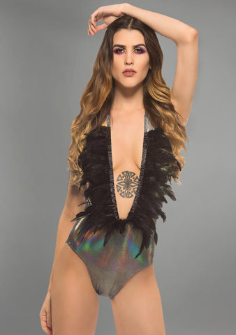 Little Black Diamond Party Ostrich Bodysuit in Nightshade