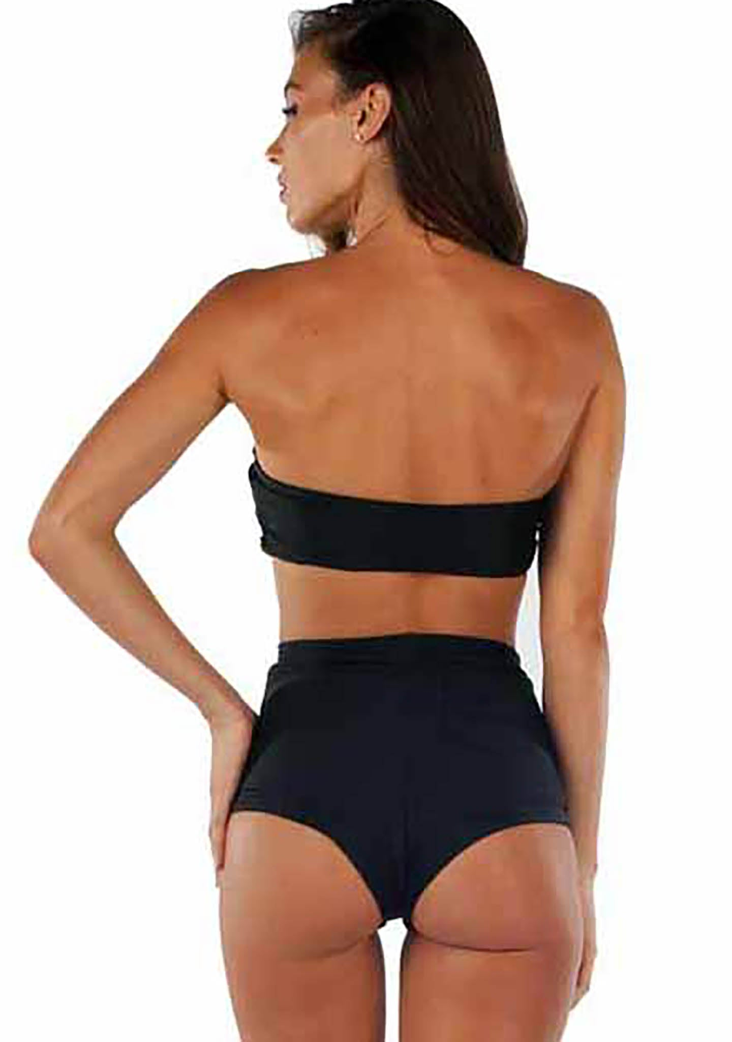 Lolli Swim 108 Degrees Front Tie Bandeau Bikini Top in Black