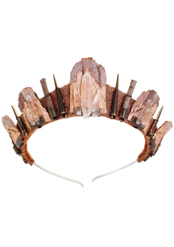 Loschy Mermaid Eucalyptus Crown in Gold/Quartz