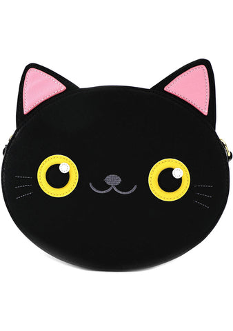 Black Cat Face Crossbody Bag