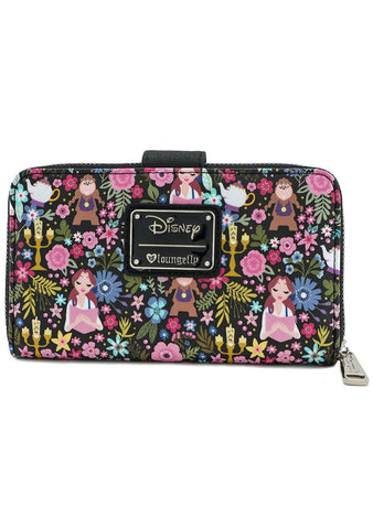 X Disney Beauty and the Beast Character Floral Zip Wallet