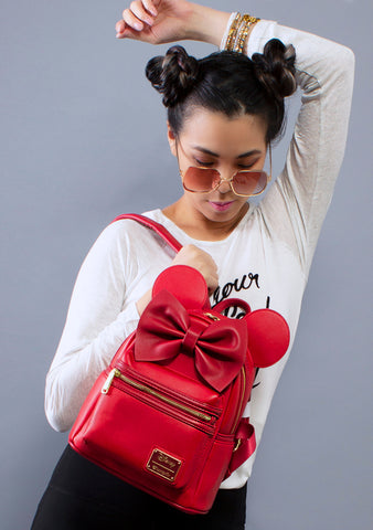 Loungefly X Disney Minnie Ears Mini Backpack in Red