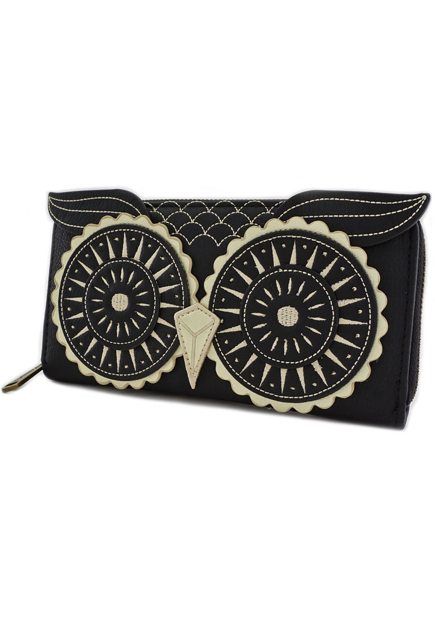 Loungefly Owl Face Zip Around Wallet in Black/Gold