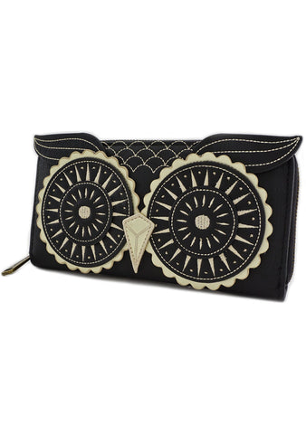 Owl Face Zip Around Wallet in Black/Gold