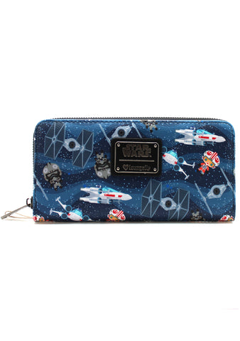 X Star Wars Chibi Ships AOP Zip Wallet