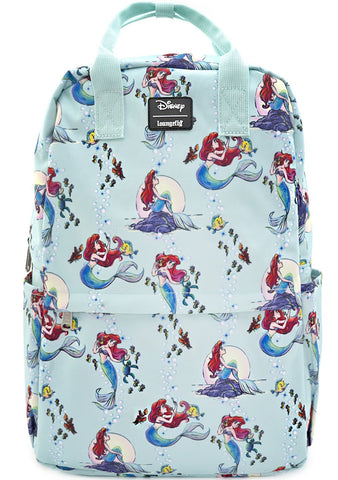 X Disney Ariel Scenes AOP Nylon Square Backpack