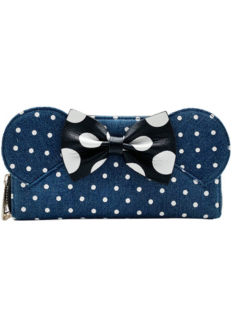 X Disney Minnie Polka Dot Denim Wallet