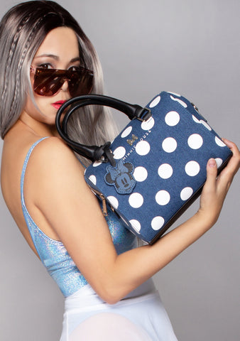 X Disney Minnie Polka Dot Denim Duffle Bag