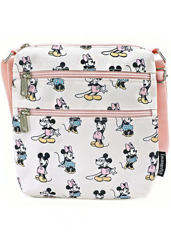 X Disney Pastel Minnie and Mickey AOP Nylon Passport Bag