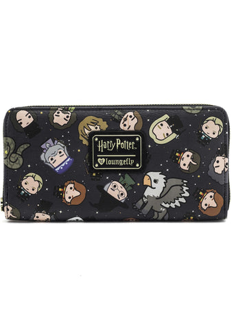 Loungefly X Harry Potter Chibi Character AOP Zip Around Wallet