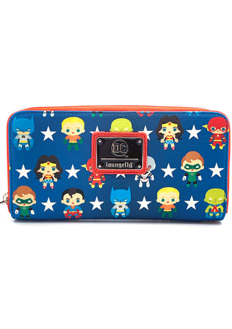 Loungefly X DC Universe Justice League Chibi AOP Zip Around Wallet