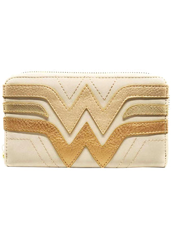 X DC Comics Wonder Woman Gold Zip Wallet