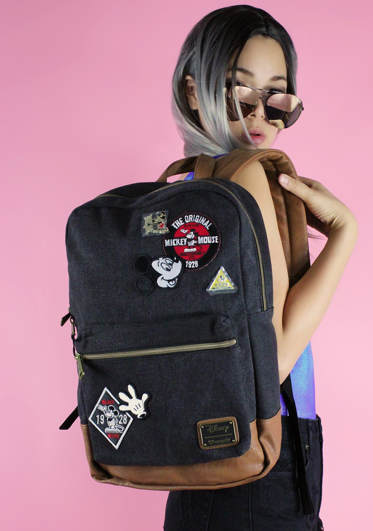 992009904bf X Disney Mickey Patches Denim Backpack