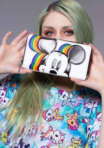 Loungefly X Disney Mickey Rainbow Zip Around Wallet