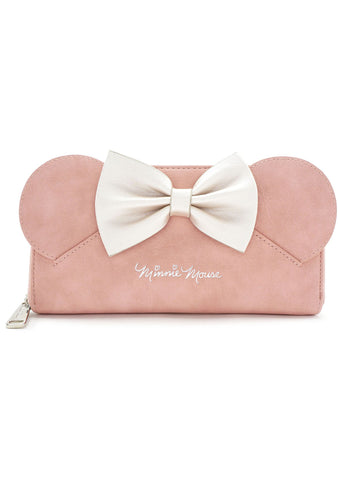 Loungefly x Disney Minnie Bow Zip Wallet in Pink