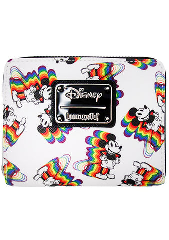 X Disney Vintage Mickey Mouse Rainbows AOP Small Zip Around Wallet