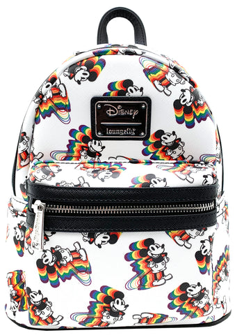 Loungefly X Disney Vintage Mickey Mouse Rainbow AOP Mini Backpack