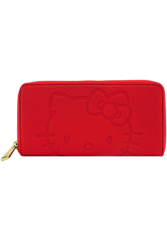 Loungefly x Hello Kitty Red Debossed Zip Wallet