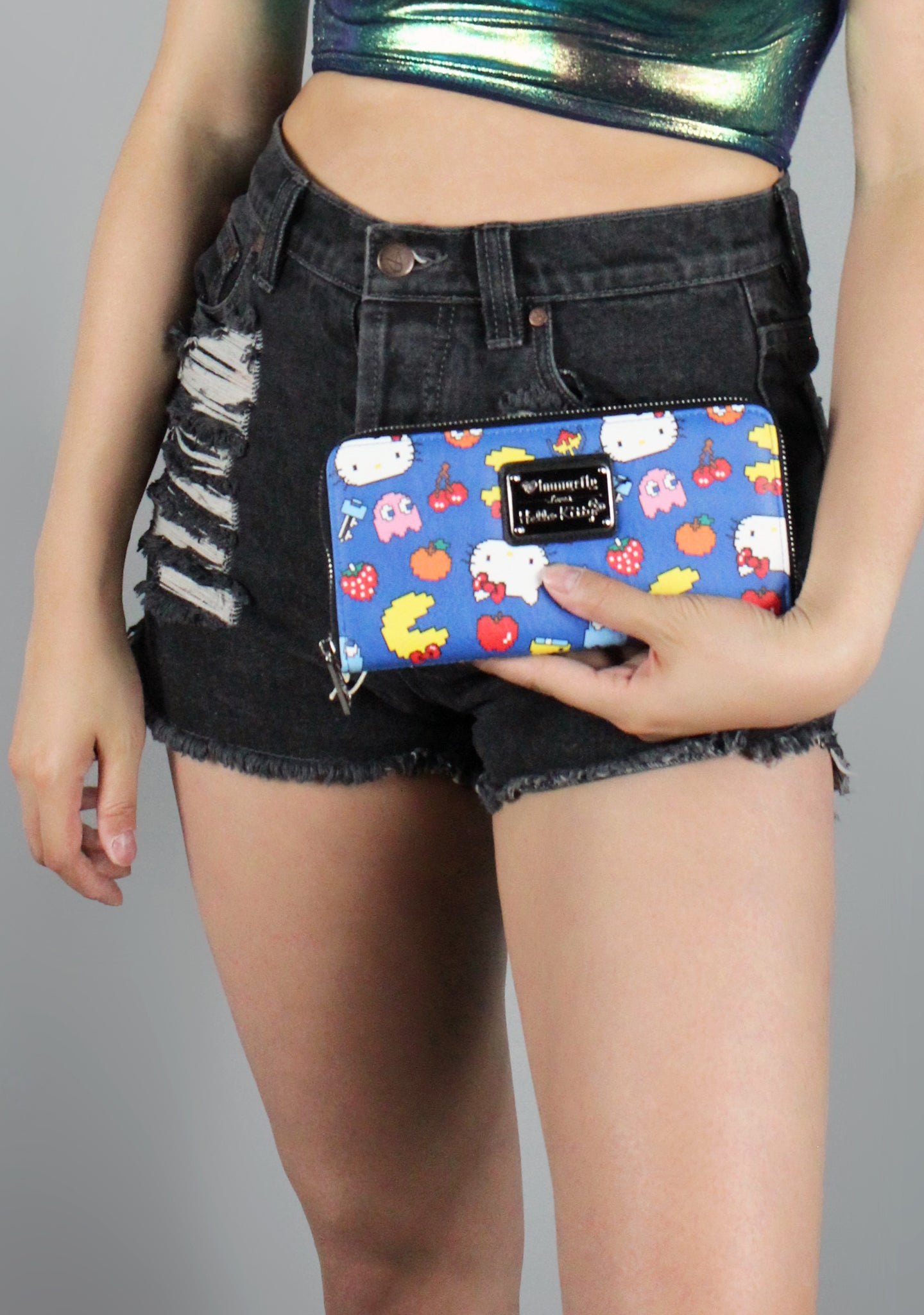 X Hello Kitty X Pac Man Characters Zip Wallet