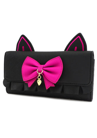 X Overwatch D. Va Black Cat Cosplay Trifold Wallet