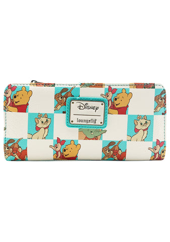 X Disney Friends Checker Character Mint Zip Wallet