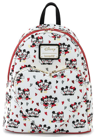 X Disney Minnie & Mickey Mouse Heart AOP Mini Backpack