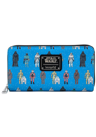 X Star Wars Action Figures AOP Zip Around Wallet