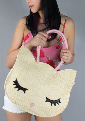 LBMissyy Kitsch Kitty Straw Tote Bag