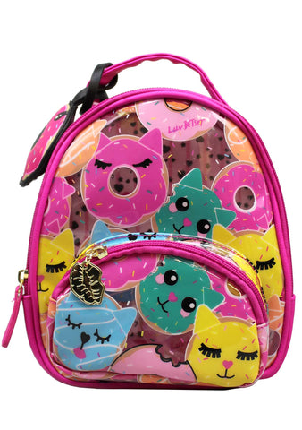 LBSage Clear Donut-Cat Mini Backpack