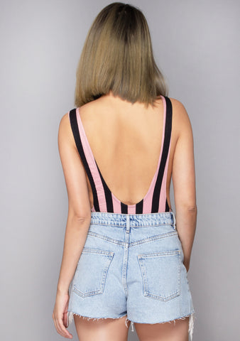 Lalung Lycra Stripe Bodysuit in Pink/Black