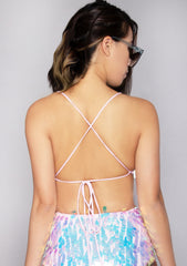 Quartz Opal Unicorn Sequin Crop Top