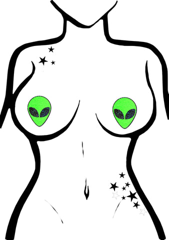 Pastease Glow In The Dark Alien Nipple Pasties in Neon Green