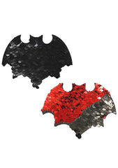 Vamp Bat Color Changing Sequin Nipple Pasties in Black/Red