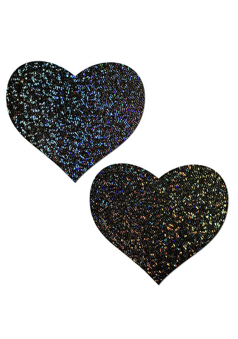 Pastease Love Glitter Heart Nipple Pasties in Black