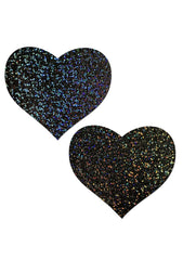 Love Glitter Heart Nipple Pasties in Black