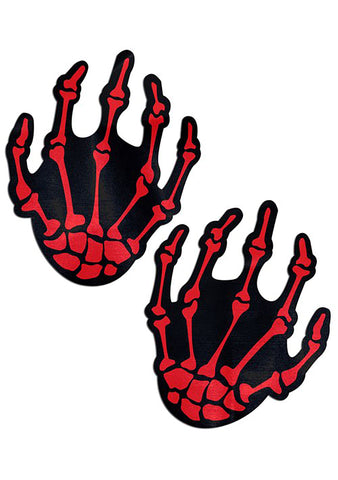 Boney Skeleton Hands Nipple Pasties in Blood Red