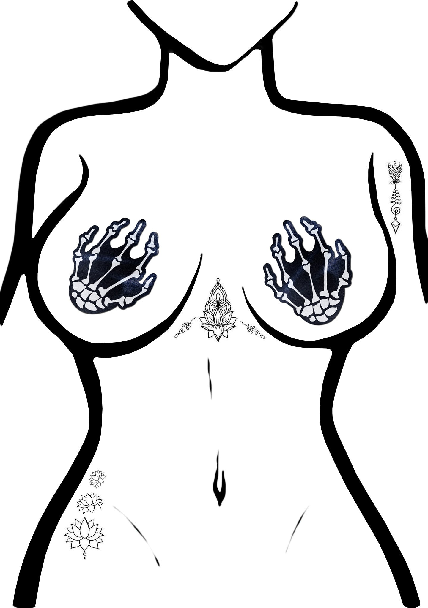 Boney Skeleton Hands Nipple Pasties in Black/White
